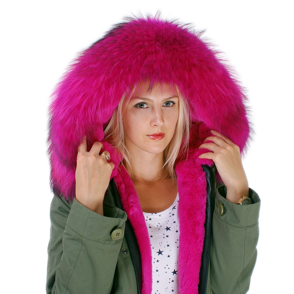 langer damen parka mit pink pelzbesatz f r kapuze fox. Black Bedroom Furniture Sets. Home Design Ideas