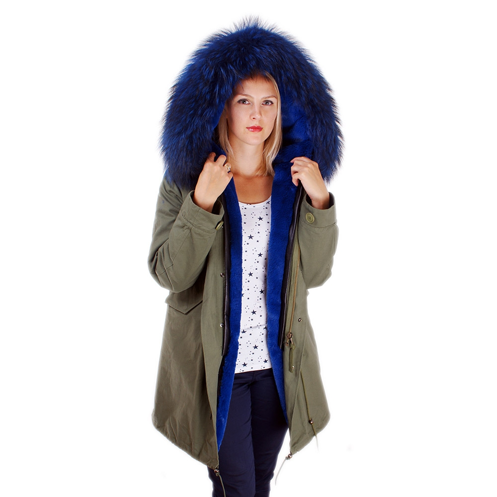 langer damen parka mit blau pelzbesatz f r kapuze fox. Black Bedroom Furniture Sets. Home Design Ideas