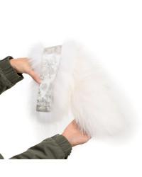 Langer Damen Parka mit blau Pelzbesatz für Kapuze